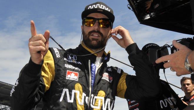 Pole Position driver James Hinchcliffe prepares to practice on Carb Day, the final practice for the Indianapolis 500 at the Indianapolis Motor Speedway, Friday, May 27th, 2016.