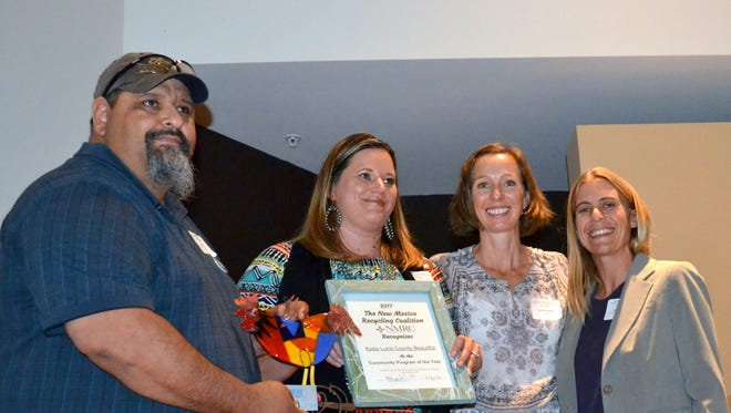 From left are Joe Padilla and Jessica Etcheverry from Keep Luna County Beautiful; Sarah Pierpont, Executive Director of NM Recycling Coalition and Sarah Schnell, Vice President of the Board of NM Recycling Coalition.