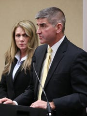 RCSD Chief Operations Officer Mike Schmidt and former superintendent Barbara Deane-Williams at a 2018 press conference after the death of Trevyan Rowe.