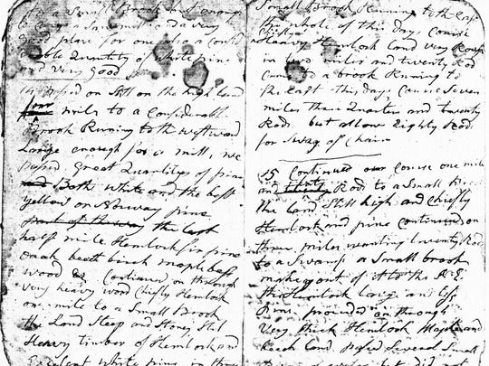 Col. Maxwell's original handwritten survey notebook of more than 100 pages is now in the archives of the Geneva Historical Society. Pictured are the first two pages of his June 1788 trial survey.