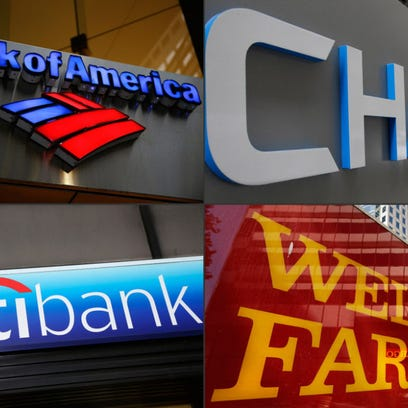 This combination made from file photos shows bank branches