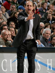 Former Houston Rockets coach Jeff Van Gundy calls to his team during a game in 2005.