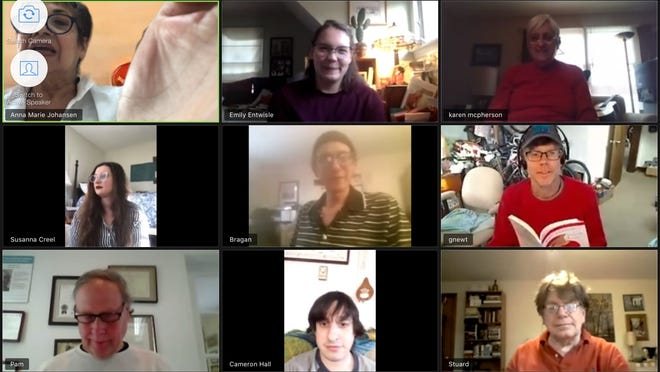 "A virtual rehearsal for Chatham Drama Guild's ""Leading Ladies,"" a comedy being prepared for  whenever the show can go on. Top row, from right, Anna Marie Johansen, Emily Entwisle and Karen McPherson; middle row, Susanna Creel, Bragan Thomas and Geof Newton; bottom row, Mike Guzowski, Cameron Hall and Stuard Derrick."