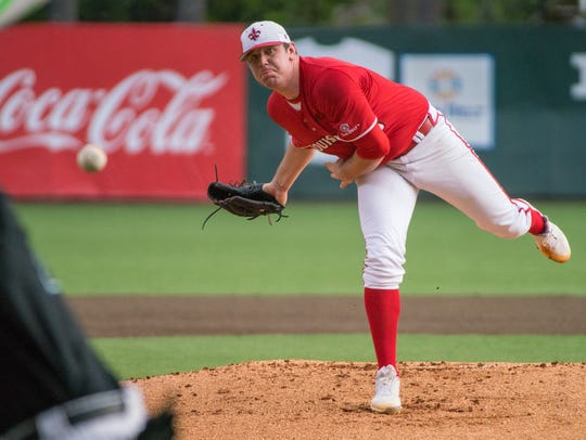 UL lefty Hogan Harris works in a win over Coastal Carolina earlier this season.
