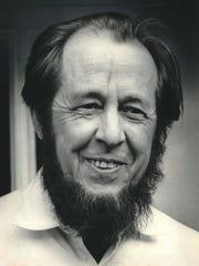 Russian author Alexander Solzhenitsyn is shown in this