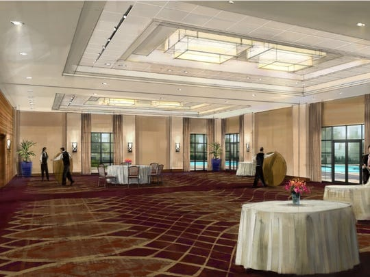 The ballroom at the Sheraton Redding at the Sundial Bridge is shown in this artist's rendering.