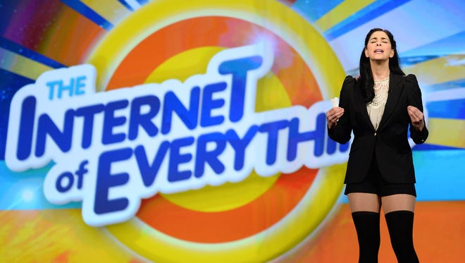 Comedian/actress Sarah Silverman speaks during a keynote address by Cisco Systems Inc. Chairman and CEO John Chambers at the 2014 International CES at The Venetian Las Vegas on January 7, 2014 in Las Vegas, Nevada.