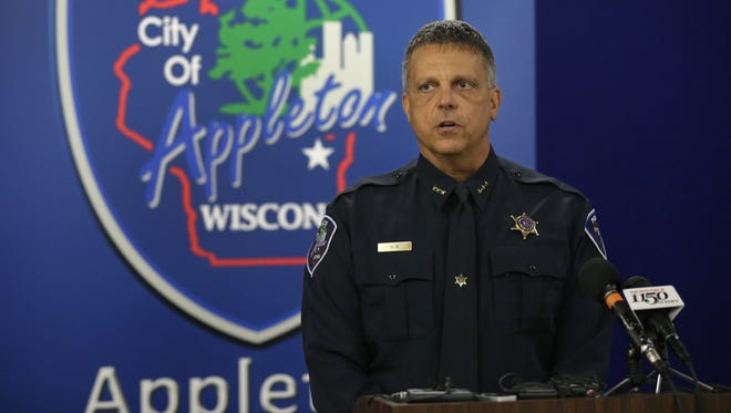 Assistant Chief Todd Olm of the Appleton Police Department speaks to the media Monday afternoon about the investigation into the 2006 homicide of Connie Boelter.