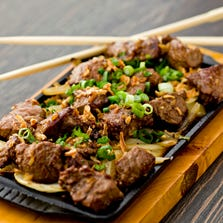 The sizzling shaken beef from Slanted Rice in Scottsdale.