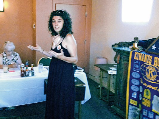 Dana Oliveri of Albuquerque, a representative of Be Well NM, discusses the health insurance exchange with the Silver City Kiwanis Club on Tuesday. Randal Seyler - Sun-News