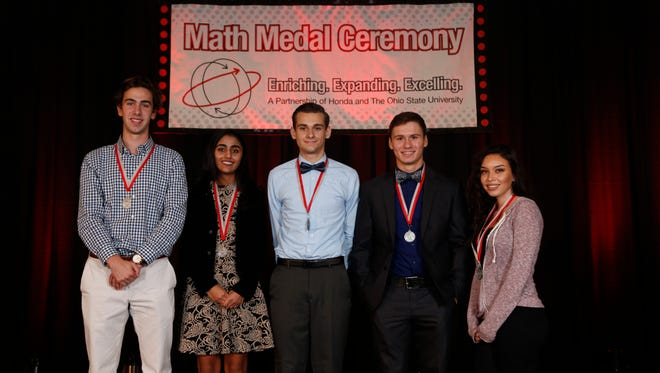 Marion County high school students who received Honda/OSU Partnership Math Medal Awards are (L to R) Phillip Nicol, Harding; Paayal Vora, River Valley; Evan Hunsicker, Ridgedale; Drayson Campbell, Pleasant; and Angelica Smith, Elgin.
