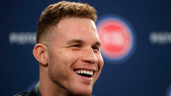 Blake Griffin smiles while talking about his trade from the Clippers to the Pistons during his introductory news conference in Auburn Hills on Wednesday, Jan. 31, 2018.