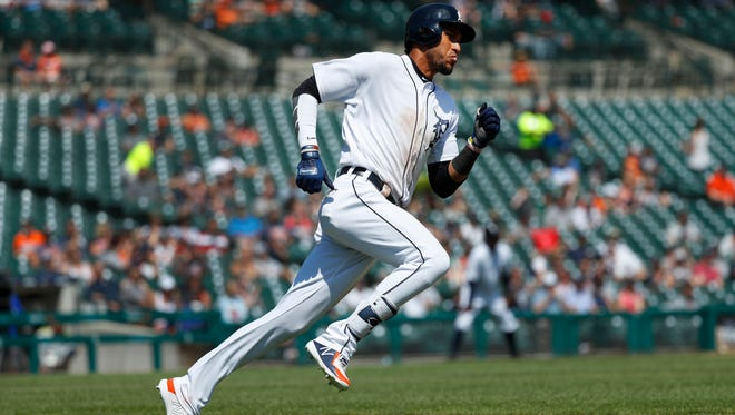 Tigers outfielder Victor Reyes rounds first base after hitting a double in the seventh inning  against the Los Angeles Angels on May 31, 2018.