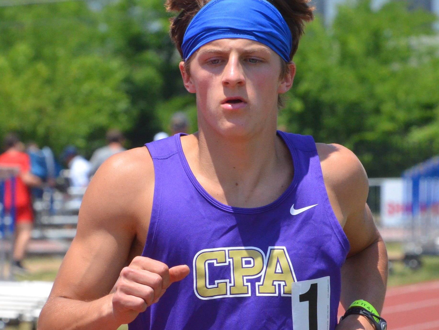CPA senior William Stout won his second consecutive Class A-AA state decathlon championship on Tuesday at MTSU's Dean A. Hayes Stadium.