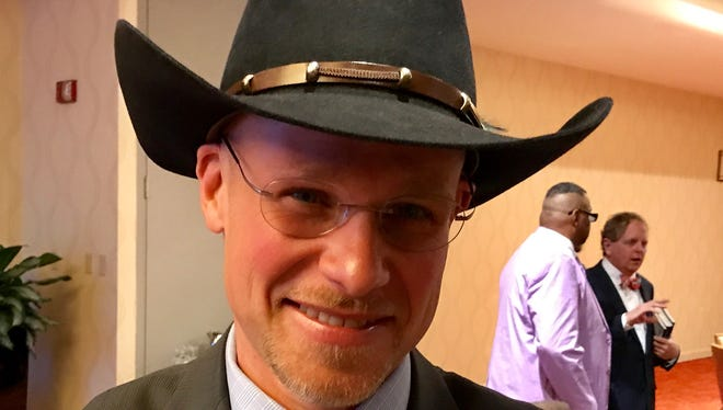City Council candidate Jeremy Goldstein has been wearing his Australian cowboy hat, which he bought while studying there in college, for 25 years.
