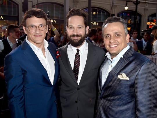 (L-R) Director Anthony Russo, actor Paul Rudd, and