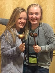 Pictured with their gavels from left: Sheridan Forker, Chief Justice and Belle Townsend, Editor-in-Chief.