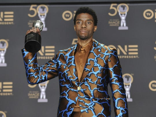 """Black Panther"" won in several categories, including best actor in a motion picture: Chadwick Boseman"