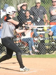 Jaclyn Hamby connects with the two-run hit that scored