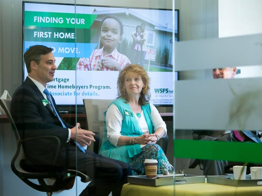 WSFS Bank Chief Financial Officer Dominic C. Canuso (from left), Chief Human Capital Officer Peggy H. Eddens, and Chief Corporate Development Office Rodger Levenson meet in a conference room at the WSFS Bank branch on North Union Street in Wilmington.