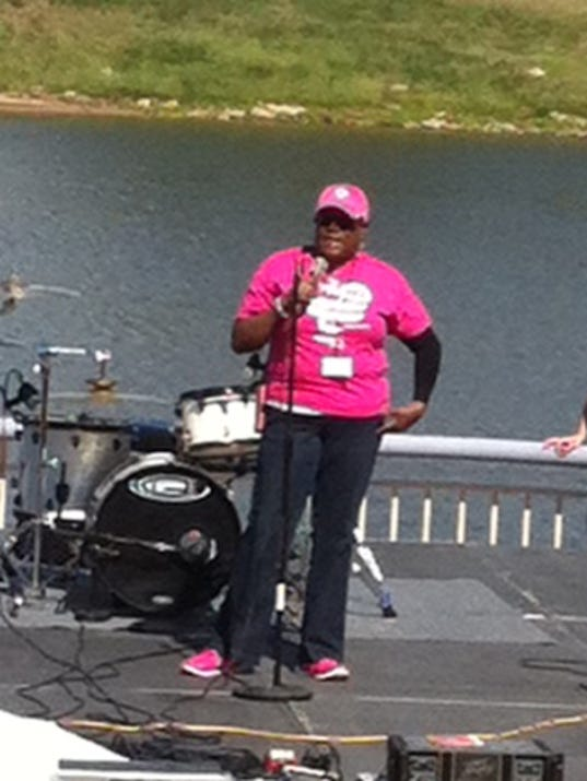 Monza Williams, a breast cancer survivor, was the guest speaker at Faces.United's Breast Cancer Awareness Concert, held recently at the amphitheater in downtown Alexandria. The free event was helped to raise awareness about Alexandria's Komen Race for the Cure and to get people to participate.