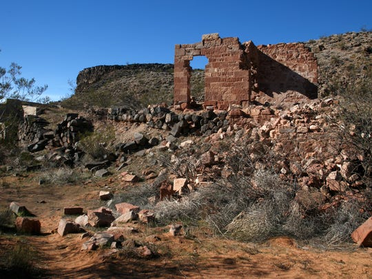 The last remaining wall of the old Stormont Mill stands in the ghost town of Babylon in the Red Cliffs National Conservation Area Wednesday, Nov. 18, 2015.