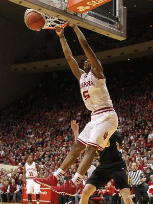 Indiana Hoosiers forward Troy Williams (5) dunks the ball during the first half against the Iowa Hawkeyes at Assembly Hall.