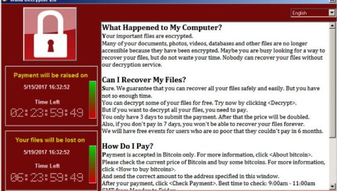 A screen shot of the page computers infected with the WannaCry ransomware variant display.