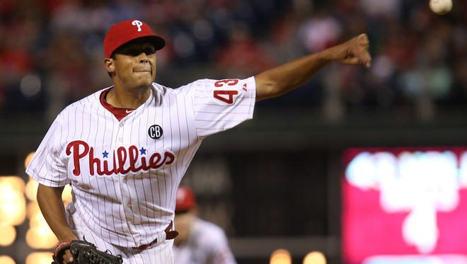 Philadelphia Phillies pitcher Mario Hollands in action during a baseball game with the St Louis Cardinals, Saturday, Aug. 23, 2014, in Philadelphia. (AP Photo/Laurence Kesterson)