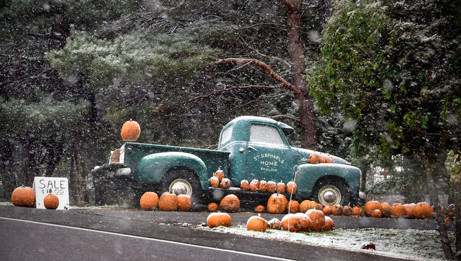 Snow falls on a display of pumpkins for sale along Stearns County HIghway 1 Friday, Oct. 27, in Sartell.