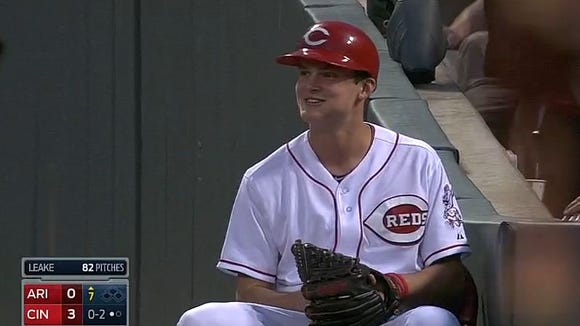 The Reds ballboy made a play in right field Tuesday.