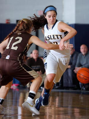 Haslett's Megan Mowid, right, gets past Holt's Syri Ammon with a behind-the-back dribble Tuesday, Feb. 9, 2016, in Haslett. Haslett won 64-52.