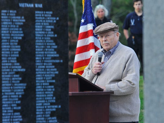 Pete Rayner, a Navy veteran and a member of the Montgomery Veterans Memorial Committee, spoke during a Veterans Day Remembrance Program in2014 in Montgomery Park.