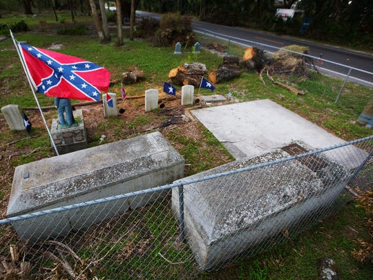 Hurricane Irma flooded the Buckingham Cemetery in Florida. Confederate soldiers are buried in the historic cemetery. Several above ground vaults were moved by flood waters.