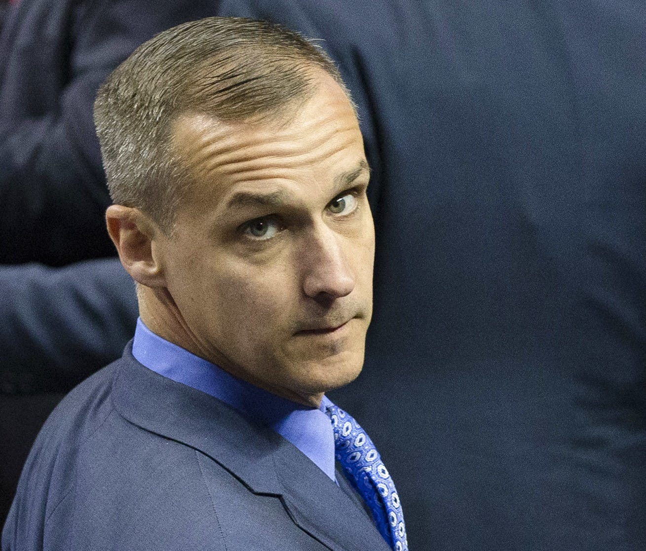 In this April 18, 2016 file photo, Corey Lewandowski, campaign manager for Republican presidential candidate Donald Trump, appears at a campaign stop at the First Niagara Center in Buffalo, N.Y.
