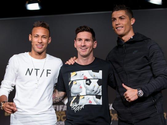 Neymar Jr., Lionel Messi y Cristiano Ronaldo, los tres