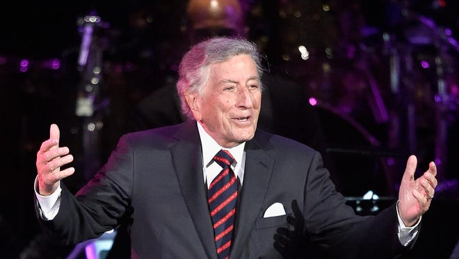 Singer Tony Bennett speaks on stage during the GRAMMY Pre-Telecast at The 58th GRAMMY Awards at Microsoft Theater on February 15, 2016 in Los Angeles, California.