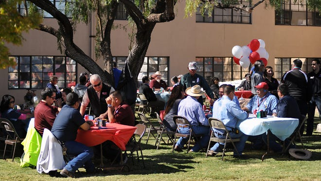 NMSU students and employees turn out for a special Veteran's Day picnic near Garcia Annex in honor of U.S. military veterans. The event was hosted by the NMSU Military and Veterans Programs office.