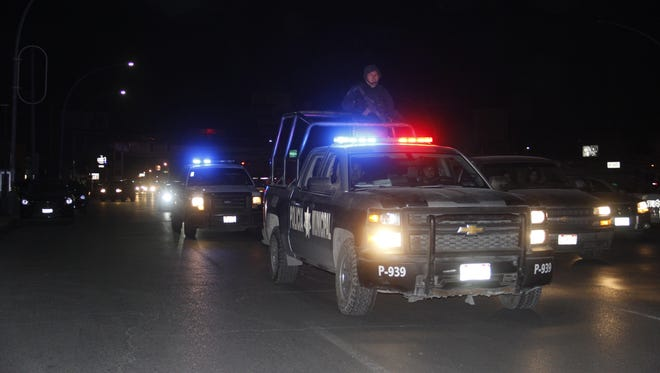 Juárez police during a crime-prevention operation in the city.