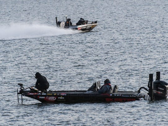 Fishermen in the 2018 GEICO Bassmaster Classic launch from Green Pond Landing on Hartwell Lake in Anderson for practice on Wednesday morning.