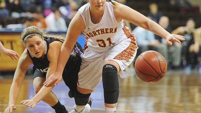 Northern State's Devon Brecke (31) and USF's Marie Malloy (4) chase a loose ball during a NSIC women's basketball tournament semifinal game Monday, Feb. 29, 2016, at the Sanford Pentagon in Sioux Falls. USF  beat Northern State 71 to 63.
