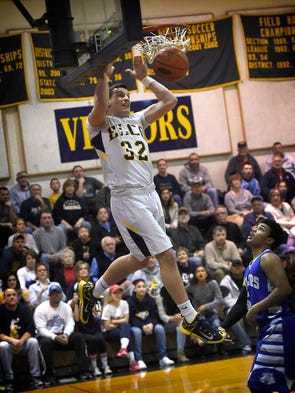 Raider Colton Lawrence goes in for his first dunk of
