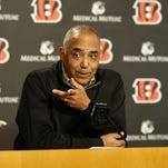 Cincinnati Bengals head coach Marvin Lewis speaks to the media during the coaches breakfast the NFL league meetings on March 22.