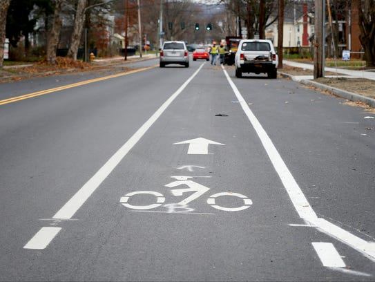 Bicycle lane markings were recently painted on West