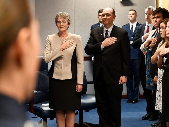 Secretary of the Air Force Heather Wilson and to-be