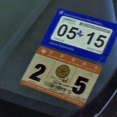 Car inspection and registration stickers in Texas