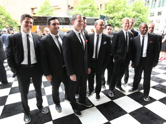 This 2014 photo shows the members of Straight No Chaser outside the Indiana Roof Ballroom before the group performed on Indianapolis 500 weekend.