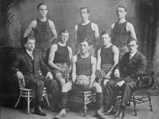 Harry 'Haps' Benfer (back row, far left) was the first basketball player in York County history to score 1,000 points in his career and he is on our list of the 10 greatest athletes in William Penn High School history. Benfer, a member of the Class of 1911, is pictured here with William Penn's 1909-10 boys' basketball team, which lost just three games all season and also featured Charles Wolf (top row, far right).