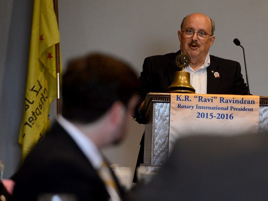 Phil Barnett, president of the Tennessee Fisher House, speaks Wednesday afternoon during the Jackson Rotary Club luncheon.