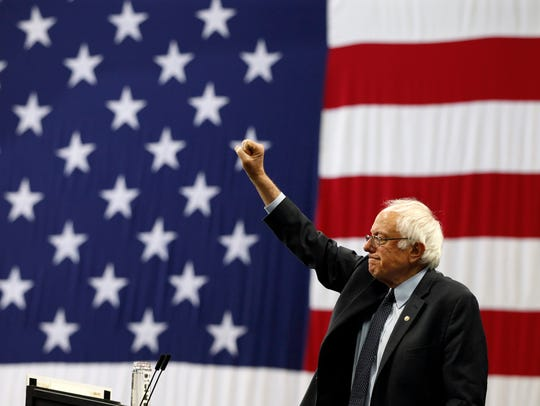 Vermont Sen. Bernie Sanders appears at a campaign rally